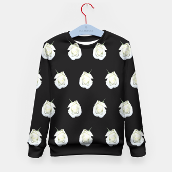 Miniatur FLOWERS: White Rosebuds on Black Kid's Sweater, Live Heroes