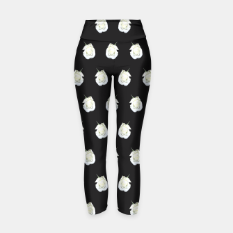 Thumbnail image of FLOWERS: White Rosebuds on Black Yoga Pants, Live Heroes