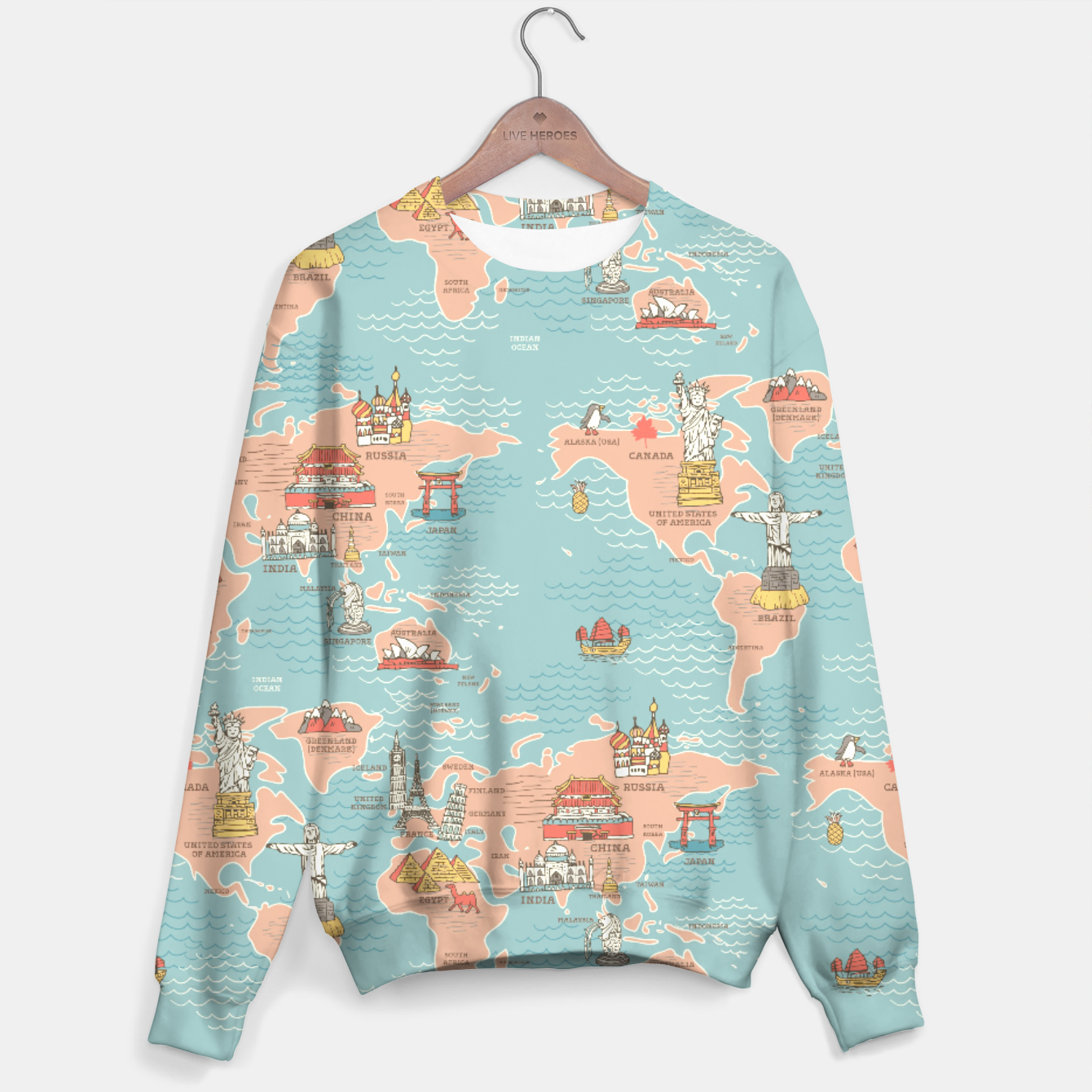 World Map Sweater.World Map Cartoon Style Sweater Live Heroes