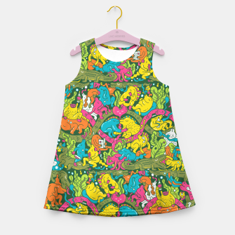 Miniatur Crocodile party Girl's Summer Dress, Live Heroes