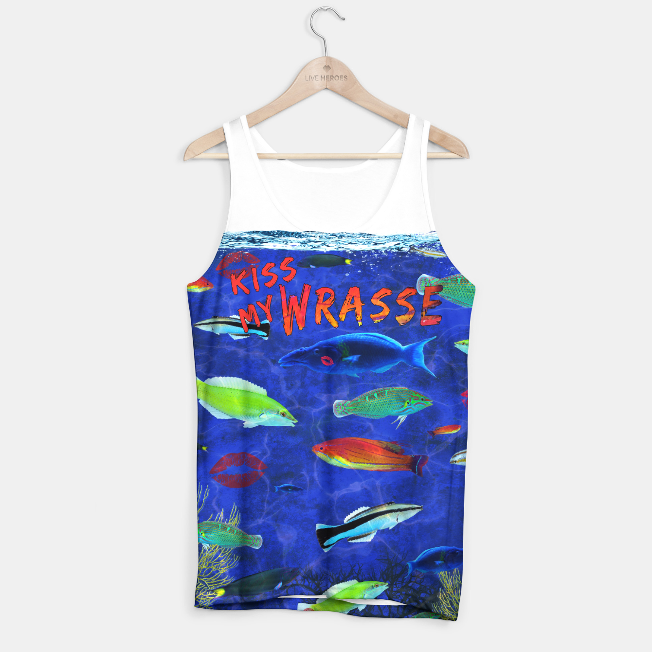 Kiss My Wrasse Fish Tank Top, Live Heroes
