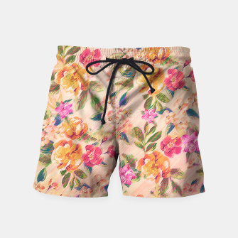 Miniature de image de Golden Flitch (Digital Vintage Retro / Glitched Pastel Flowers - Floral design pattern) Swim Shorts, Live Heroes