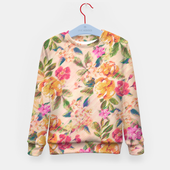 Miniature de image de Golden Flitch (Digital Vintage Retro / Glitched Pastel Flowers - Floral design pattern) Kid's Sweater, Live Heroes