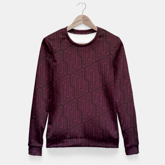 Miniature de image de Geometric Illusion pattern in deep red Fitted Waist Sweater, Live Heroes