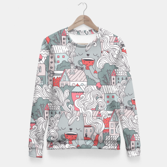 Cat drinking tea in the city. Town tea party. Fitted Waist Sweater obraz miniatury