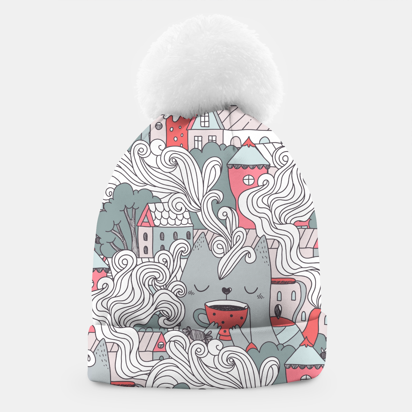 Zdjęcie Cat drinking tea in the city. Town tea party. Beanie - Live Heroes