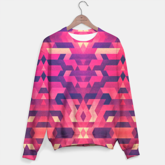 Miniature de image de Abstract Symertric geometric triangle texture pattern design in diabolic magnet future red Sweater, Live Heroes