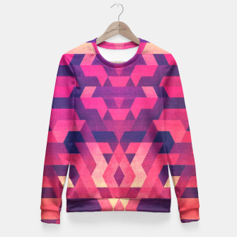 Miniature de image de Abstract Symertric geometric triangle texture pattern design in diabolic magnet future red Fitted Waist Sweater, Live Heroes