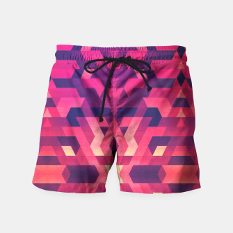 Miniature de image de Abstract Symertric geometric triangle texture pattern design in diabolic magnet future red Swim Shorts, Live Heroes