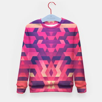 Miniature de image de Abstract Symertric geometric triangle texture pattern design in diabolic magnet future red Kid's Sweater, Live Heroes