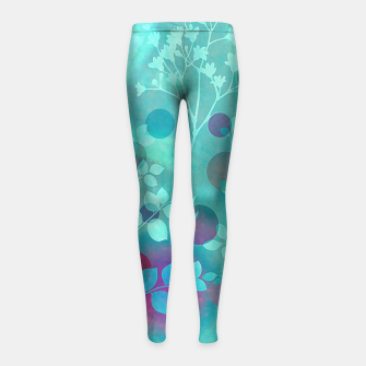 Efflorescence blue Leggings de fille Bild der Miniatur