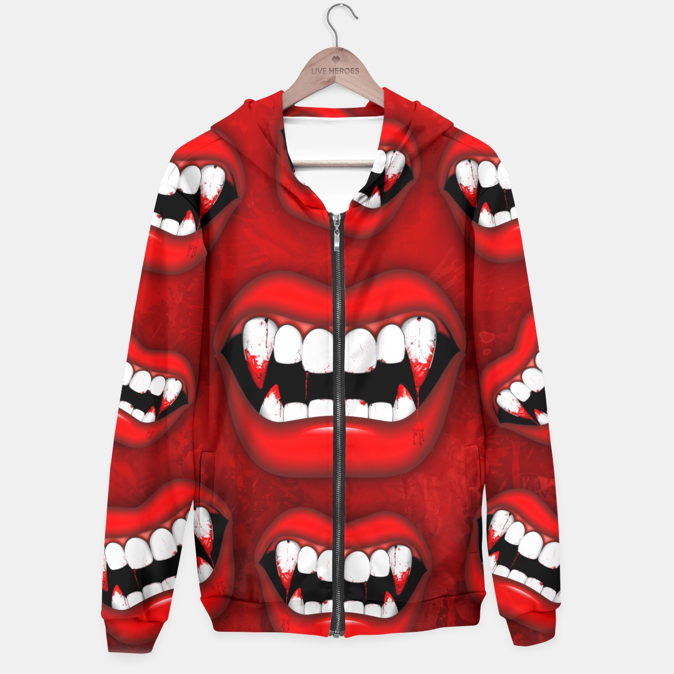 Image of Vampire Red Bloody Mouth Hoodie - Live Heroes