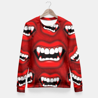 Thumbnail image of Vampire Red Bloody Mouth Fitted Waist Sweater, Live Heroes