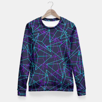 Miniature de image de DesignAbstract Geometric 3D Triangle Pattern in turquoise/ purple Fitted Waist Sweater, Live Heroes