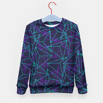 Miniature de image de DesignAbstract Geometric 3D Triangle Pattern in turquoise/ purple Kid's Sweater, Live Heroes