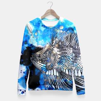 Thumbnail image of Beautiful but angry fish Fitted Waist Sweater, Live Heroes