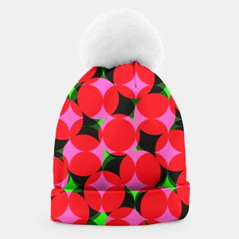 Thumbnail image of Dotty Spotty Geometric Pink Red Green Mix Beanie, Live Heroes