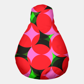 Thumbnail image of Dotty Spotty Geometric Pink Red Green Mix Pouf, Live Heroes