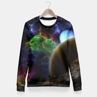 Thumbnail image of Exploration Of Space Fractal Sci-Fi Landscape Women sweater, Live Heroes