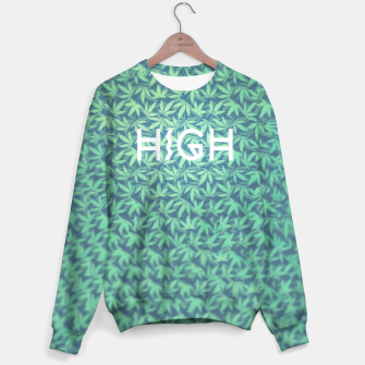Miniature de image de HIGH! Typo Design Weed - Dope Leaf Pattern  Sweater, Live Heroes