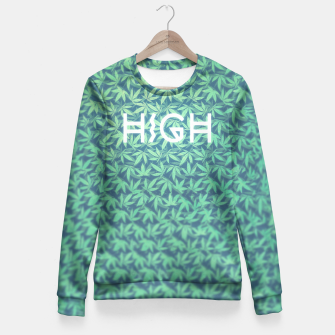 Miniature de image de HIGH! Typo Design Weed - Dope Leaf Pattern  Fitted Waist Sweater, Live Heroes
