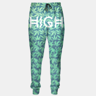 Miniaturka HIGH! Typo Design Weed - Dope Leaf Pattern  Sweatpants, Live Heroes