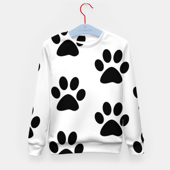 Paws Black and White Kid's Sweater obraz miniatury