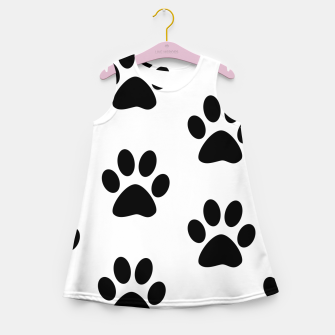 Paws Black and White Girl's Summer Dress obraz miniatury