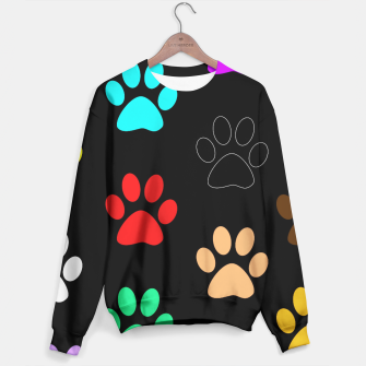 Paws Rainbow Black Background Sweater obraz miniatury