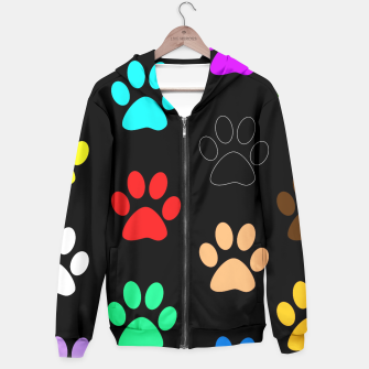 Paws Rainbow Black Background Hoodie obraz miniatury