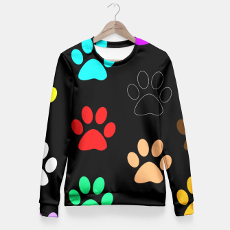 Paws Rainbow Black Background Fitted Waist Sweater obraz miniatury
