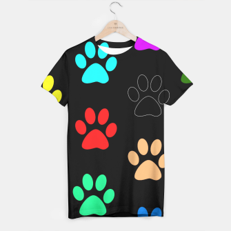 Paws Rainbow Black Background T-shirt obraz miniatury