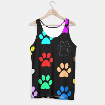 Paws Rainbow Black Background Tank Top obraz miniatury