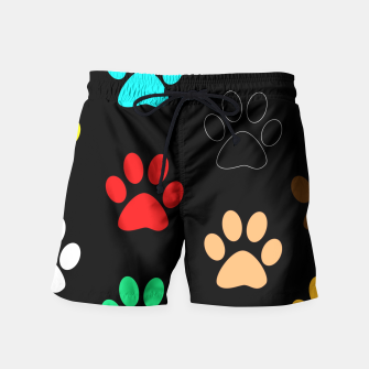 Paws Rainbow Black Background Swim Shorts obraz miniatury