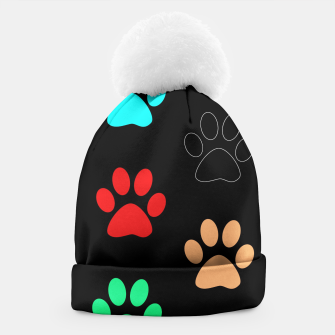 Paws Rainbow Black Background Beanie obraz miniatury