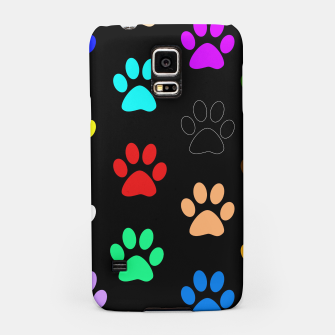 Paws Rainbow Black Background Samsung Case obraz miniatury