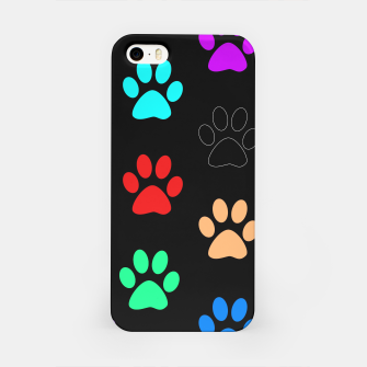 Paws Rainbow Black Background iPhone Case obraz miniatury