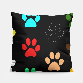 Paws Rainbow Black Background Pillow obraz miniatury