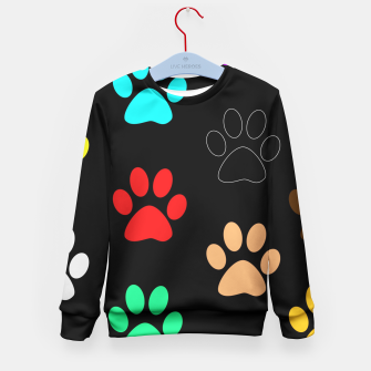 Paws Rainbow Black Background Kid's Sweater obraz miniatury