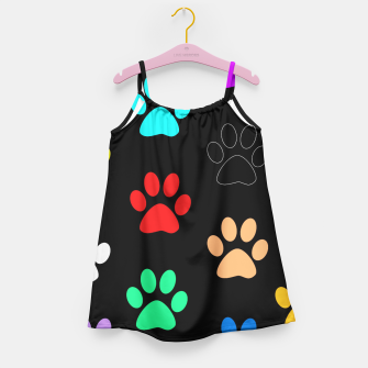 Paws Rainbow Black Background Girl's Dress obraz miniatury
