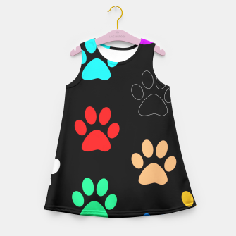 Paws Rainbow Black Background Girl's Summer Dress obraz miniatury
