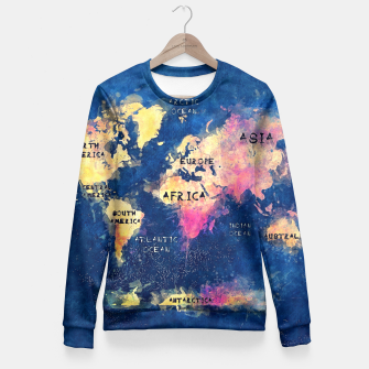 world map oceans and continents Fitted Waist Sweater obraz miniatury