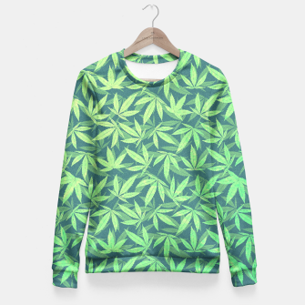 Miniature de image de Cannabis Dope Weed / Hemp Leaf Pattern Design Fitted Waist Sweater, Live Heroes