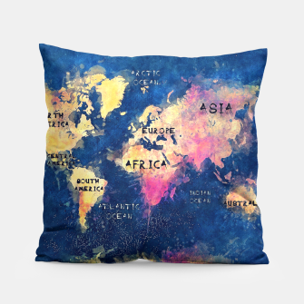 world map oceans and continents Pillow obraz miniatury