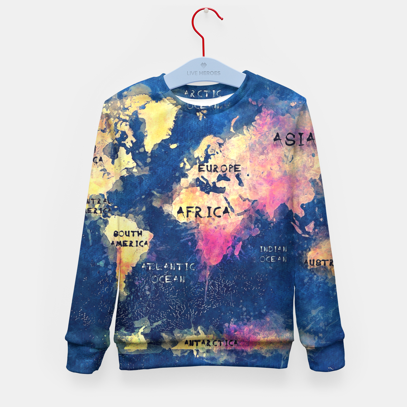 World Map Sweater.World Map Oceans And Continents Kid S Sweater Live Heroes