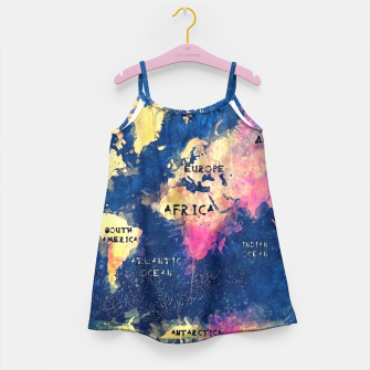 world map oceans and continents Girl's Dress obraz miniatury