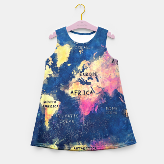 world map oceans and continents Girl's Summer Dress obraz miniatury