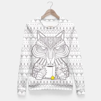 Thumbnail image of Wolf drinking tea Fitted Waist Sweater, Live Heroes