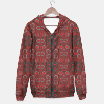 """Thumbnail image of """"Find the rabbit"""" abstract pattern in red tones Hoodie, Live Heroes"""