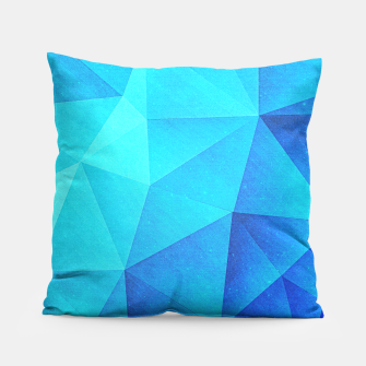 Thumbnail image of Abstract Polygon Multi Color Cubizm Painting in ice blue Pillow, Live Heroes
